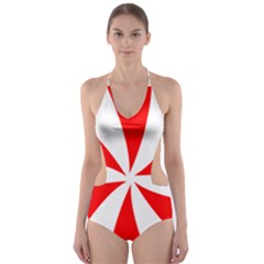Candy Red White Peppermint Pinwheel Red White Cut Out One Piece Swimsuit