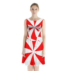 Candy Red White Peppermint Pinwheel Red White Sleeveless Chiffon Waist Tie Dress by Alisyart