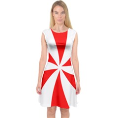 Candy Red White Peppermint Pinwheel Red White Capsleeve Midi Dress