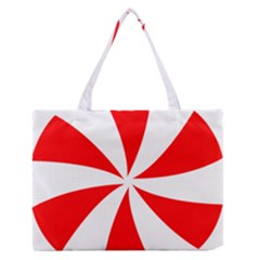 Candy Red White Peppermint Pinwheel Red White Medium Zipper Tote Bag