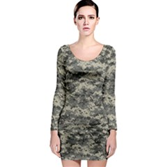 Us Army Digital Camouflage Pattern Long Sleeve Bodycon Dress by Simbadda