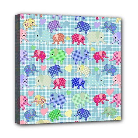 Cute Elephants  Mini Canvas 8  X 8  by Valentinaart