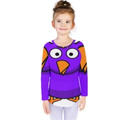Cartoon Bird Purple Kids  Long Sleeve Tee