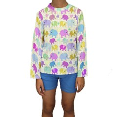 Cute Elephants  Kids  Long Sleeve Swimwear