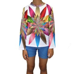 Chromatic Flower Gold Rainbow Kids  Long Sleeve Swimwear by Alisyart