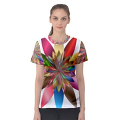 Chromatic Flower Gold Rainbow Women s Sport Mesh Tee by Alisyart