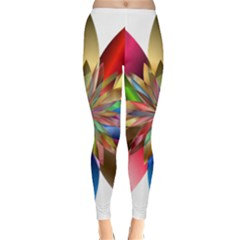 Chromatic Flower Gold Rainbow Classic Winter Leggings