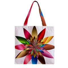 Chromatic Flower Gold Rainbow Zipper Grocery Tote Bag by Alisyart
