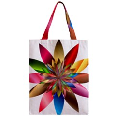 Chromatic Flower Gold Rainbow Zipper Classic Tote Bag by Alisyart