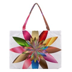 Chromatic Flower Gold Rainbow Medium Tote Bag