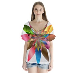 Chromatic Flower Gold Rainbow Flutter Sleeve Top