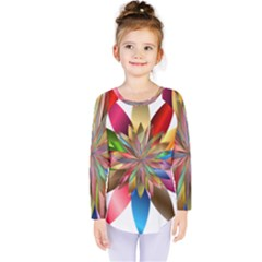 Chromatic Flower Gold Rainbow Kids  Long Sleeve Tee