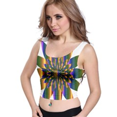 Chromatic Flower Gold Rainbow Star Light Crop Top