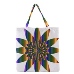 Chromatic Flower Gold Rainbow Star Light Grocery Tote Bag by Alisyart
