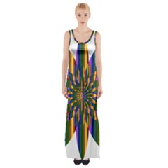 Chromatic Flower Gold Rainbow Star Light Maxi Thigh Split Dress