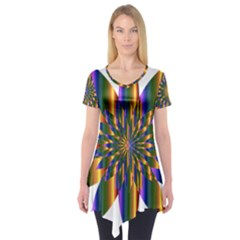 Chromatic Flower Gold Rainbow Star Light Short Sleeve Tunic  by Alisyart