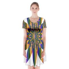 Chromatic Flower Gold Rainbow Star Light Short Sleeve V Neck Flare Dress by Alisyart