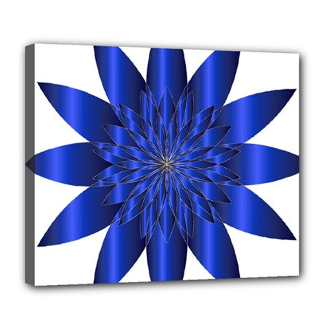 Chromatic Flower Blue Star Deluxe Canvas 24  X 20   by Alisyart