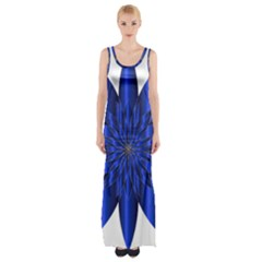 Chromatic Flower Blue Star Maxi Thigh Split Dress