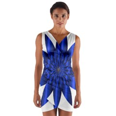 Chromatic Flower Blue Star Wrap Front Bodycon Dress