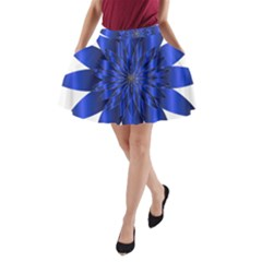 Chromatic Flower Blue Star A Line Pocket Skirt by Alisyart