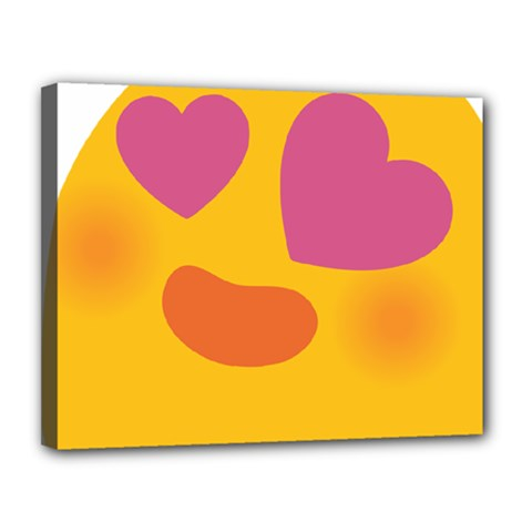 Emoji Face Emotion Love Heart Pink Orange Emoji Canvas 14  X 11