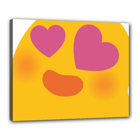 Emoji Face Emotion Love Heart Pink Orange Emoji Canvas 20  X 16