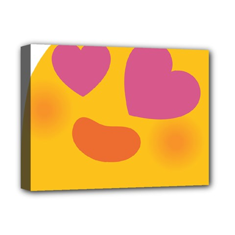 Emoji Face Emotion Love Heart Pink Orange Emoji Deluxe Canvas 16  X 12   by Alisyart