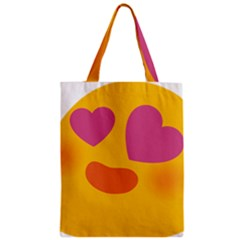 Emoji Face Emotion Love Heart Pink Orange Emoji Zipper Classic Tote Bag by Alisyart