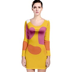 018e9ec1ff95 Emoji Face Emotion Love Heart Pink Orange Emoji Long Sleeve Velvet Bodycon  Dress by Alisyart
