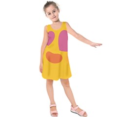 Emoji Face Emotion Love Heart Pink Orange Emoji Kids  Sleeveless Dress by Alisyart