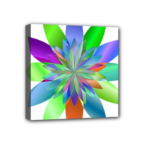 Chromatic Flower Variation Star Rainbow Mini Canvas 4  X 4