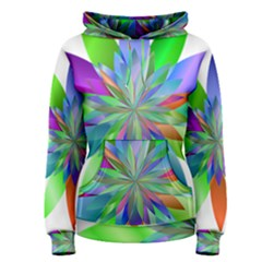 Chromatic Flower Variation Star Rainbow Women s Pullover Hoodie