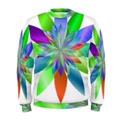 Chromatic Flower Variation Star Rainbow Men s Sweatshirt