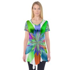 Chromatic Flower Variation Star Rainbow Short Sleeve Tunic