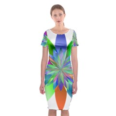 Chromatic Flower Variation Star Rainbow Classic Short Sleeve Midi Dress by Alisyart