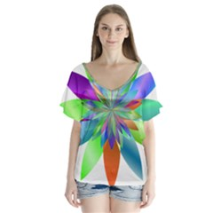 Chromatic Flower Variation Star Rainbow Flutter Sleeve Top