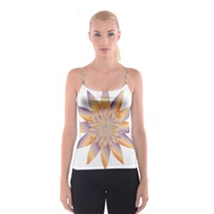 Chromatic Flower Gold Star Floral Spaghetti Strap Top by Alisyart
