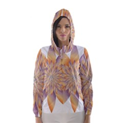 Chromatic Flower Gold Star Floral Hooded Wind Breaker (women) by Alisyart
