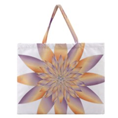 Chromatic Flower Gold Star Floral Zipper Large Tote Bag by Alisyart