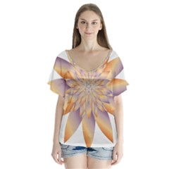 Chromatic Flower Gold Star Floral Flutter Sleeve Top
