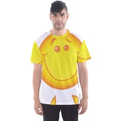 Domain Cartoon Smiling Sun Sunlight Orange Emoji Men s Sport Mesh Tee