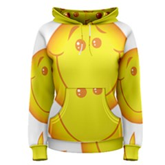 Domain Cartoon Smiling Sun Sunlight Orange Emoji Women s Pullover Hoodie