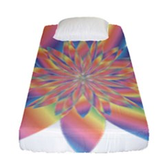 Chromatic Flower Gold Rainbow Star Fitted Sheet (single Size) by Alisyart