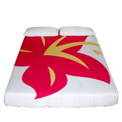 Flower Floral Lily Blossom Red Yellow Fitted Sheet (king Size) by Alisyart