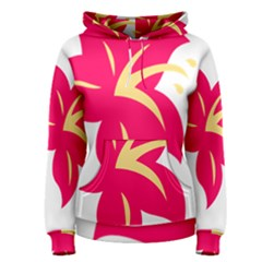 Flower Floral Lily Blossom Red Yellow Women s Pullover Hoodie