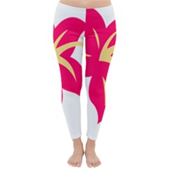 Flower Floral Lily Blossom Red Yellow Classic Winter Leggings by Alisyart