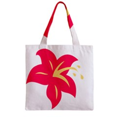 Flower Floral Lily Blossom Red Yellow Zipper Grocery Tote Bag by Alisyart