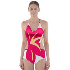Flower Floral Lily Blossom Red Yellow Cut Out One Piece Swimsuit