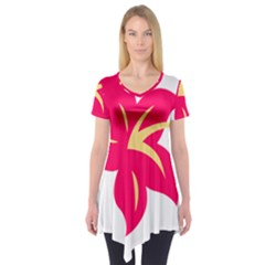 Flower Floral Lily Blossom Red Yellow Short Sleeve Tunic  by Alisyart